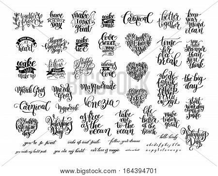 big set of black and white handwritten lettering positive and holiday quote about love, life and carnival celebration, modern calligraphy vector illustration collection