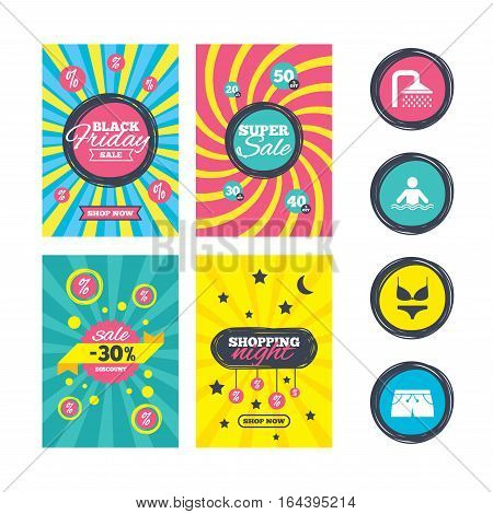 Sale website banner templates. Swimming pool icons. Shower water drops and swimwear symbols. Human stands in sea waves sign. Trunks and women underwear. Ads promotional material. Vector