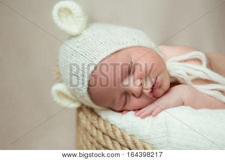 Newborn baby sleeps in a basket. Hat with ears