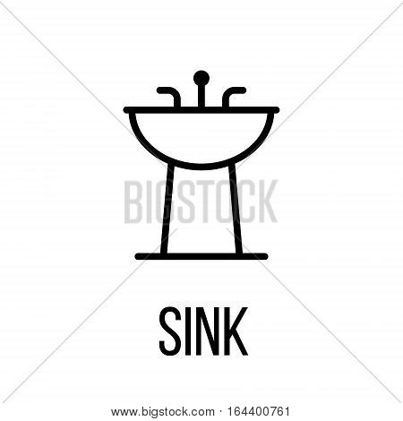 Sink icon or logo in modern line style. High quality black outline pictogram for web site design and mobile apps. Vector illustration on a white background.