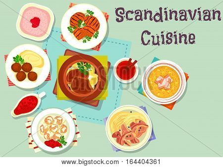 Scandinavian cuisine dishes with dessert icon of beef steak with beet, vegetable beef stew, meatball with berry sauce, pea bacon soup, lamb cabbage stew, meatball, porridge raspberry dessert