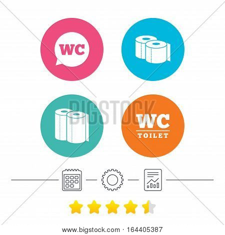 Toilet paper icons. Gents and ladies room signs. Paper towel or kitchen roll. Speech bubble symbol. Calendar, cogwheel and report linear icons. Star vote ranking. Vector