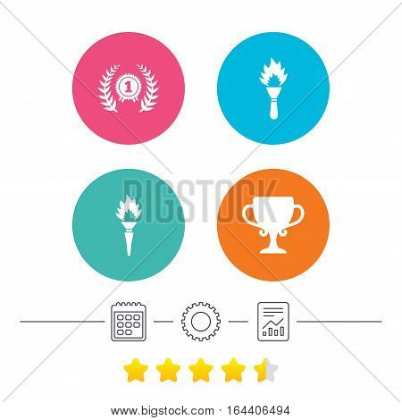 First place award cup icons. Laurel wreath sign. Torch fire flame symbol. Prize for winner. Calendar, cogwheel and report linear icons. Star vote ranking. Vector