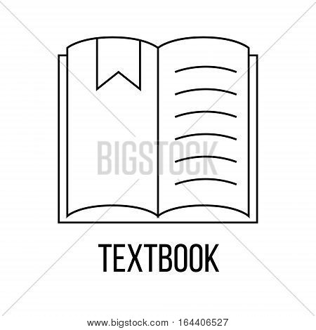 Textbook icon or logo line art style. Vector Illustration isolated on white background.