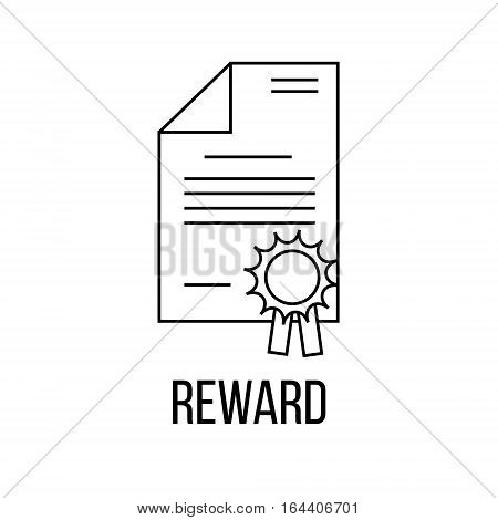 Reward icon or logo line art style. Vector Illustration isolated on white background.