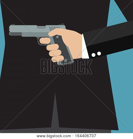 Businessman holding a gun behind his back. Business concept