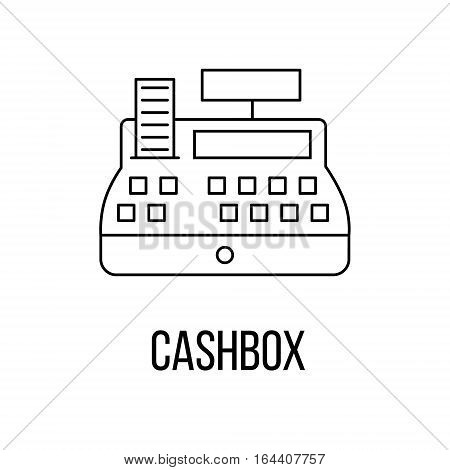 Cashbox icon or logo line art style. Vector Illustration.