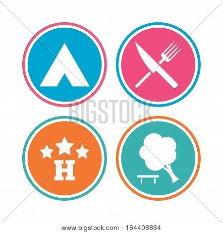 Food, hotel, camping tent and tree icons. Knife and fork. Break down tree. Road signs. Colored circle buttons. Vector
