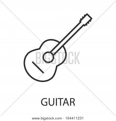 Guitar icon or logo line art style. Vector Illustration.