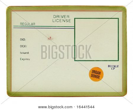 Old vintage Drivers License/ID (visible old paper texture, scratches, fibers, and smudges, sealed in plastic)