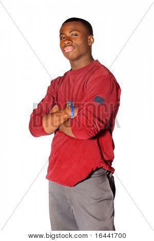 Teenager stehend mit seiner Arme verschränkt