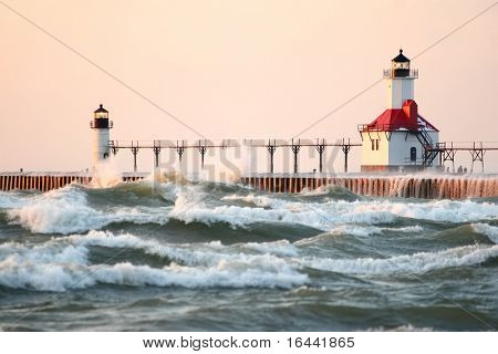 St Joseph North Pier Lighthouse at sunset (focus is on the lighthouse)
