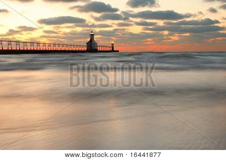 St Joseph, Michigan, North Pier Lighthouse at sunset, long exposure