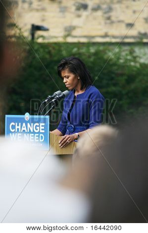 Madison, Wisconsin-September 22: Michelle Obama speaks to a crowd of about 1,800 on September 22, 2008 in Madison Wisconsin. Obama also spoke in Milwaukee.