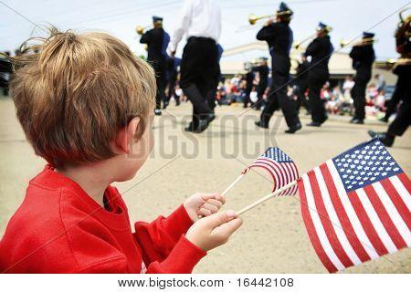 Boy watching a parade
