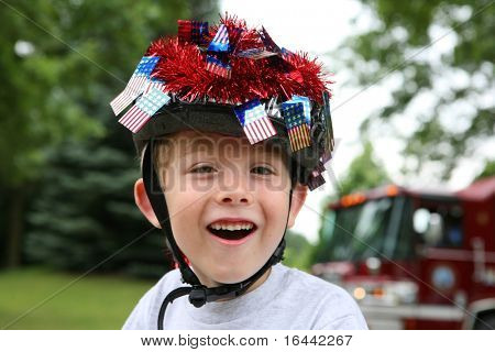 Boy dressed up for a 4th of July Parade
