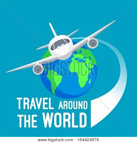Travel around the world by fast means of transportation logotype design. Vector cartoon illustration of white flying airplane near colourful sign of earth globe planet with text in flat design.