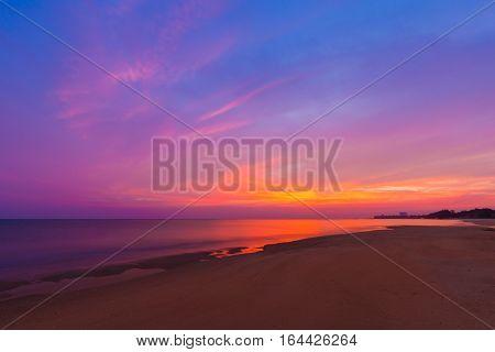 Sai Thong Beach With Sunset At Twilight, Sea At Rayong, Thailand