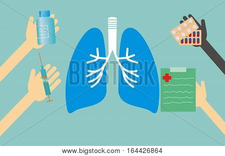 Medicine concept - lungs shape and hands with medical things