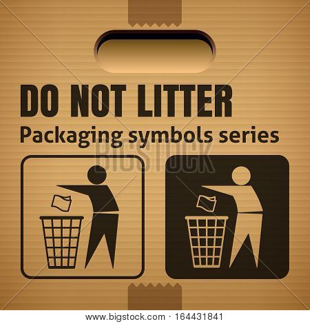 DO NOT LITTER packaging symbol on a corrugated cardboard box. For use on cardboard boxes packages and parcels. Vector illustration