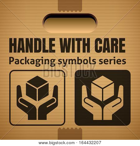 HANDLE WITH CARE packaging symbol on a corrugated cardboard box. For use on cardboard boxes packages and parcels. Vector illustration