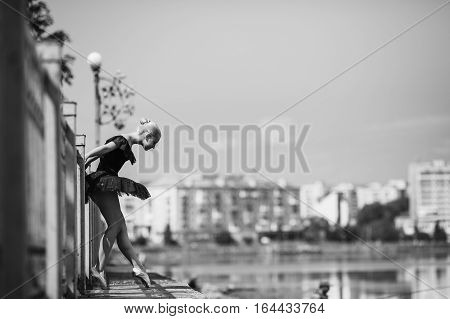 ballerina posing on a background of the lake at the camera