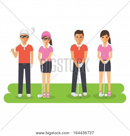 Man and woman golf sport athletes golf players playing teeing off and putting with golf club. Flat design people characters.