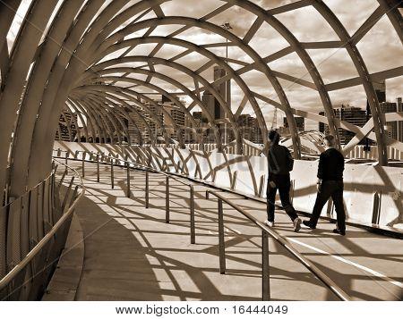 Webb Bridge - Docklands Melbourne - in sepia