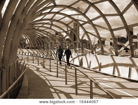 Webb Bridge - Docklands Melbourne - in sepia