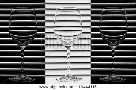 Wine Glasses - Black and White Trio