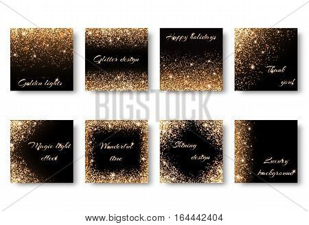 Set of backgrounds with light effects for the design of congratulations. Registration for celebrating birthdays New Year Christmas Valentines Day. Frame with gold glitter.