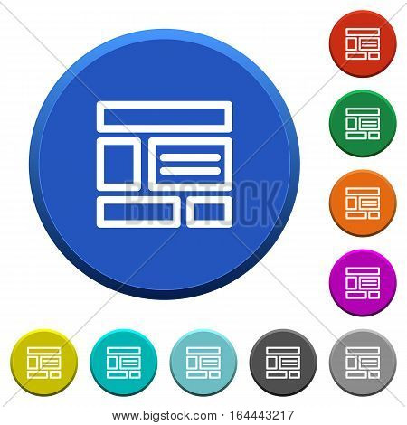 Web layout round color beveled buttons with smooth surfaces and flat white icons