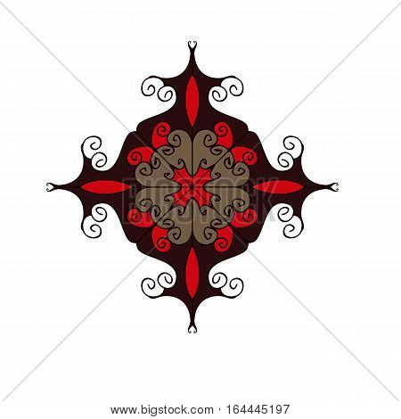 Red and brown flourish circular ornament symbol isolated on white background. Elegant web design element made from curved lines. Vector