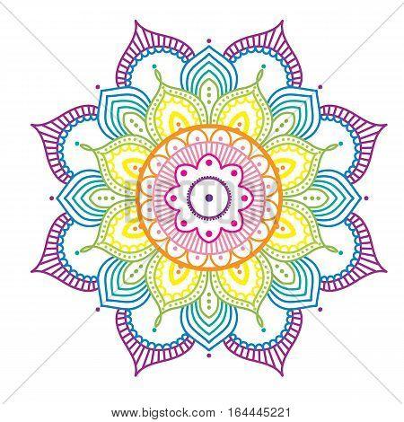 Rainbow colorful abstract mandala on pink background, ethno motive, vector illustration, eps 10