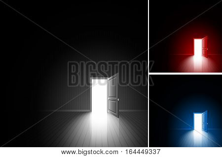 Open door in a dark room; Bright light outside - illuminates the floor; The concept of only decision daring choice exit finding of freedom; Chance to achieving the goal; Vector background set Eps10