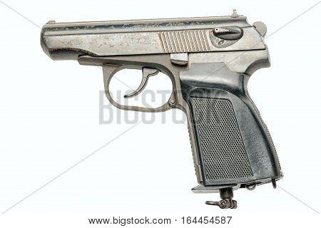 tm hand gun isolated on white background