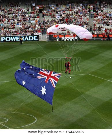 parachutist and flag