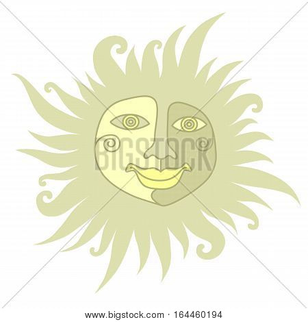 The sun with a human face on a white background in folk style