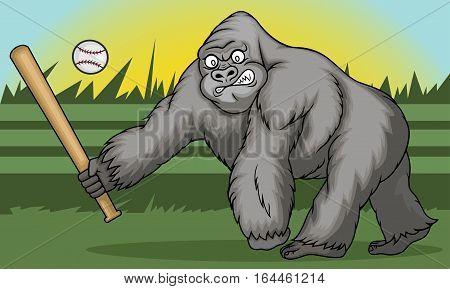 Gorilla Holding Softball Hitting Stick Cartoon Animal Character. Vector Illustration.