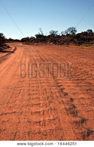 Corrugated road in the Australian outback