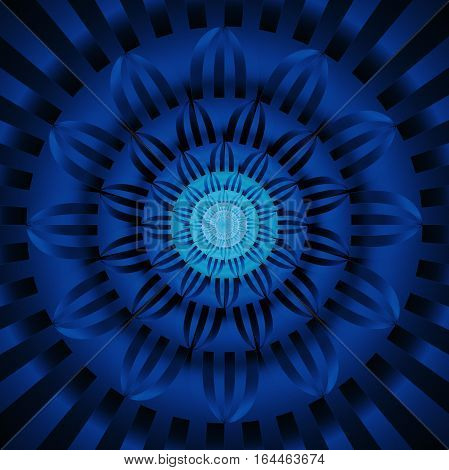 Abstract Exotic Flower. Psychedelic Mandala Design In Dark Blue And Black Colors. Fantasy Fractal Ar