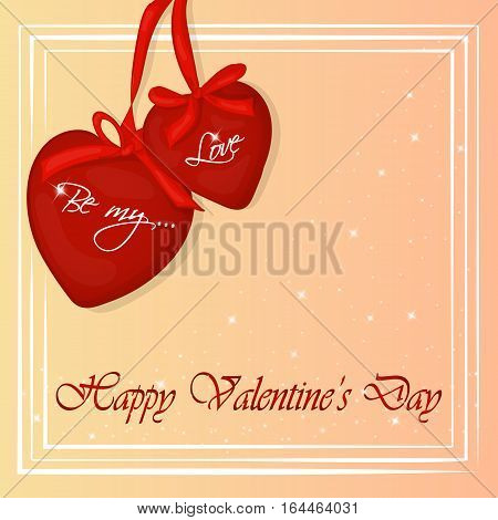 Happy Valentine's Day card with two hearts. Background for valentine's day. Valentine's Day greeting card in cartoon style. Vector illustration. Holiday Collection.