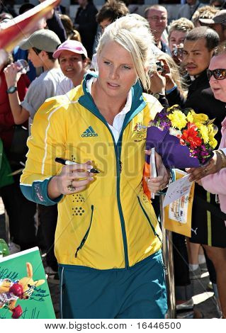 MELBOURNE 17 SEPTEMBER: Gold Medalist Leisel Jones at the 2008 Olympic Homecoming Parade