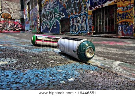 Spray cans in a Graffiti Alley in Melbourne