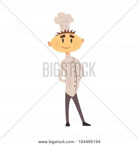 Professional Cook In Classic Double Breasted White Jacket And Toque Standing Proud. Colorful Vector Chef Cartoon Character Cooking In Restaurant Kitchen Illustration.
