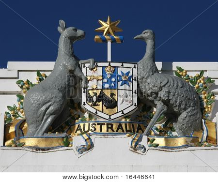 Australian Emu and Kangaroo emblem on old Parliament house - Canberra