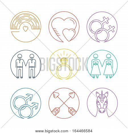 Vector line icons. Set of gay marriage and gay love icons. LGBT symbols including unicorn and rainbow. Homosexual design elements. Gay pride. Same sex love.