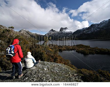 Hiker at Tasmania's Cradle Mountain and Dove Lake