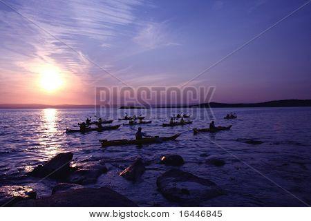 Kayaks at Sunset in Freycinet National Park, Tasmania