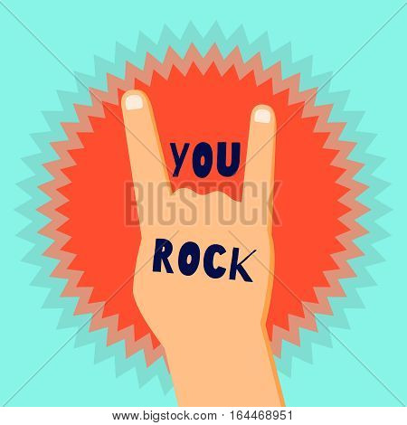 You rock flat design poster template with a devil's horns sign